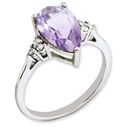 0.6 ct Sterling Silver Diamond and Pink Quartz Ring