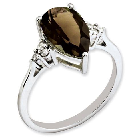 2.9 ct Sterling Silver Diamond and Smokey Quartz Ring