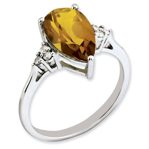 2.9 ct Sterling Silver Diamond and Whiskey Quartz Ring