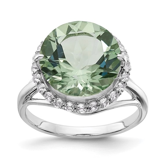 6.1 ct Sterling Silver White Topaz and Green Quartz Ring