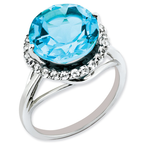 7.75 ct Sterling Silver White Topaz and Light Swiss Blue Topaz Ring