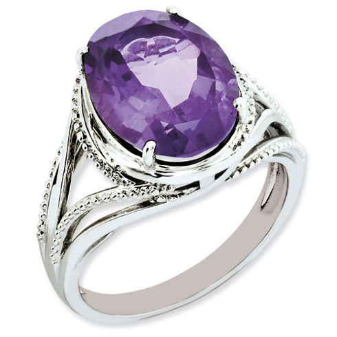 Sterling Silver 5.4 ct Oval Amethyst Ring