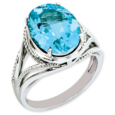 Sterling Silver 7.25 ct Light Swiss Blue Topaz Ring Beaded Texture