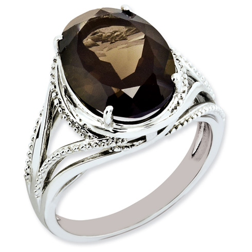 Sterling Silver 5.4 ct Oval Smoky Quartz Ring with Beaded Texture