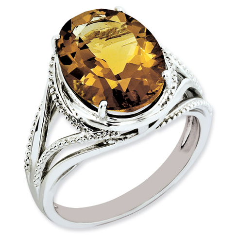 5.4 ct Sterling Silver Whiskey Quartz Ring