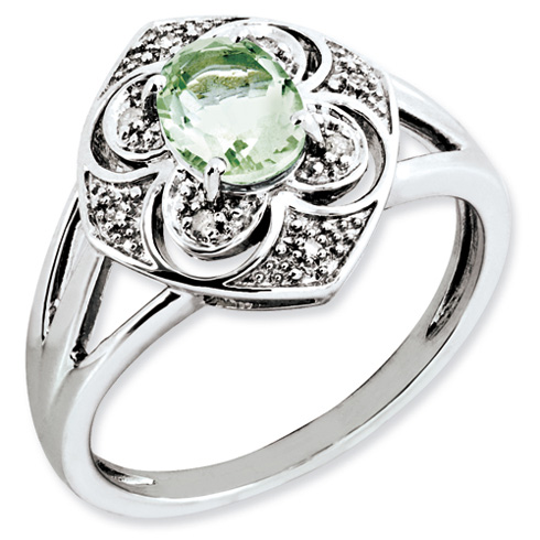 0.8 ct Sterling Silver Green Quartz and Diamond Ring