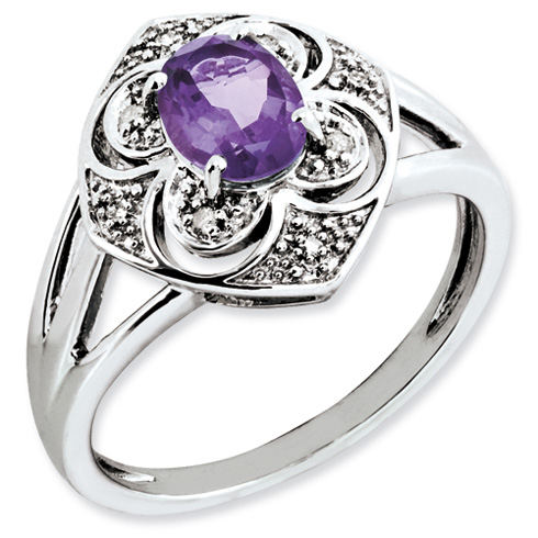 0.75 ct Sterling Silver Diamond and Amethyst Ring