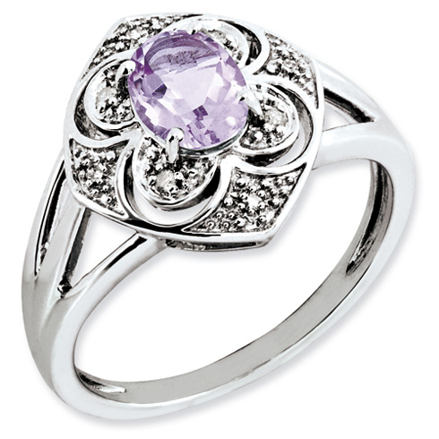 Sterling Silver 0.8 ct Pink Quartz and Diamond Ring