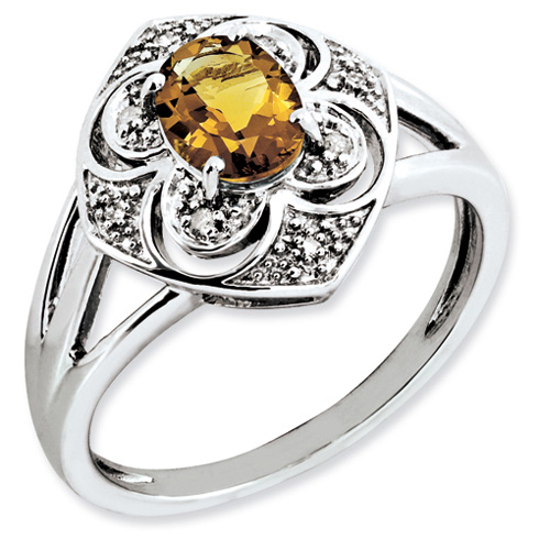 Sterling Silver 0.8 ct Whiskey Quartz and Diamond Ring