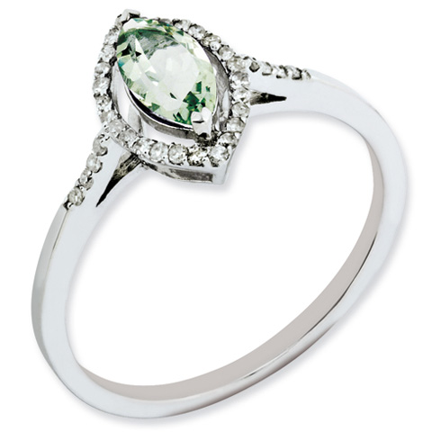 0.5 ct Sterling Silver Green Quartz and Diamond Ring