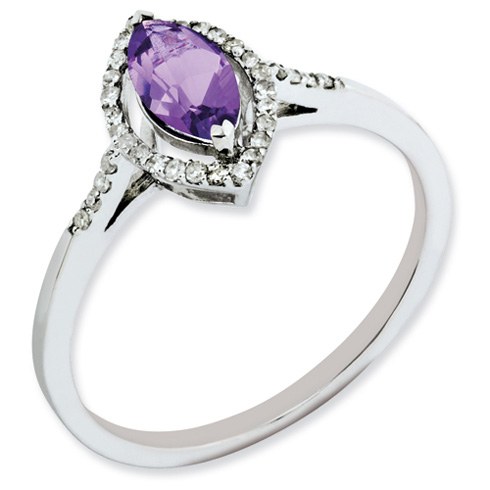0.5 ct Sterling Silver Diamond and Amethyst Ring