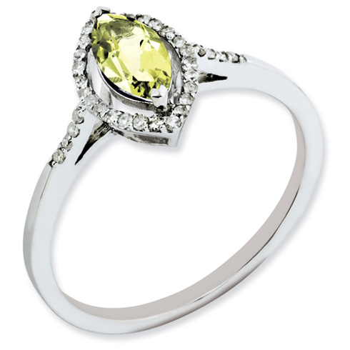 Sterling Silver 0.5 ct Lemon Quartz and Diamond Ring