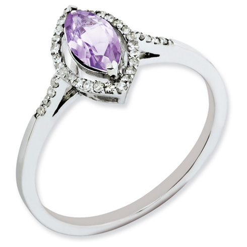 0.5 ct Sterling Silver Pink Quartz and Diamond Ring