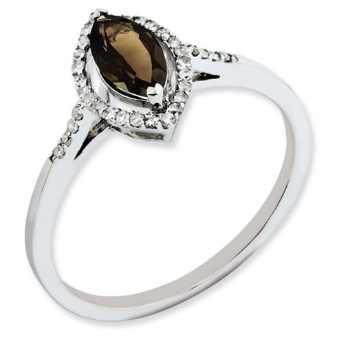 0.5 ct Sterling Silver Smokey Quartz and Diamond Ring