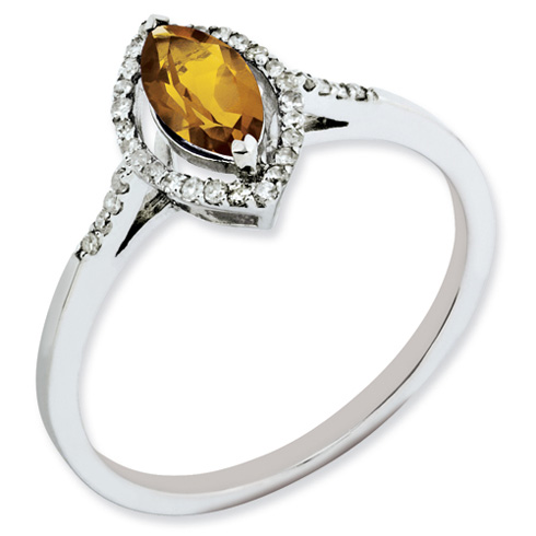 0.5 ct Sterling Silver Whiskey Quartz and Diamond Ring