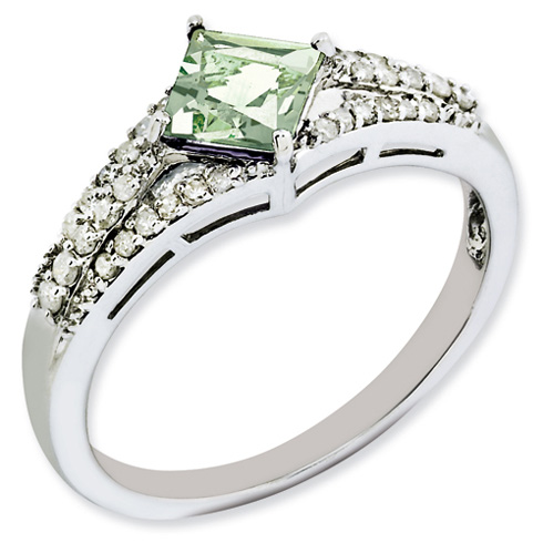 0.55 ct Sterling Silver Green Quartz and Diamond Ring