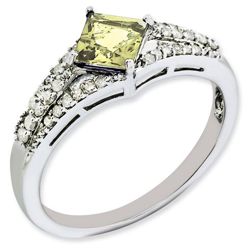 0.55 ct Sterling Silver Lemon Quartz and Diamond Ring