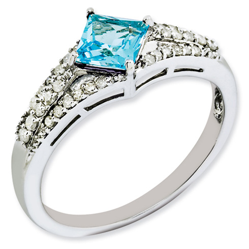 0.7 ct Sterling Silver Diamond and Light Swiss Blue Topaz Ring