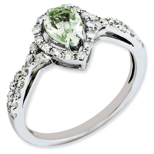 0.6 ct Sterling Silver Green Quartz and Diamond Ring