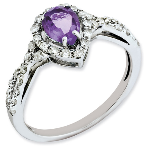 0.6 ct Sterling Silver Diamond and Amethyst Ring