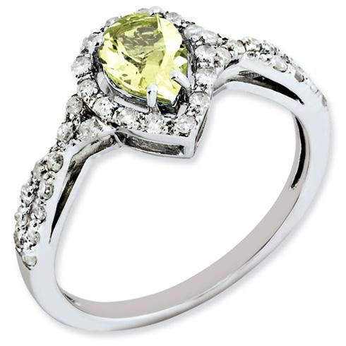 0.6 ct Sterling Silver Lemon Quartz and Diamond Ring