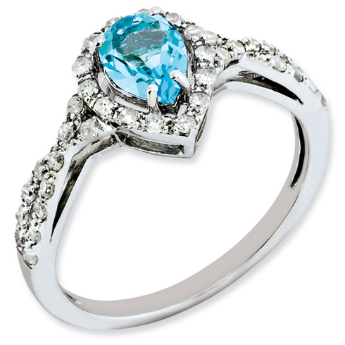 0.85 ct Sterling Silver Diamond and Light Swiss Blue Topaz Ring