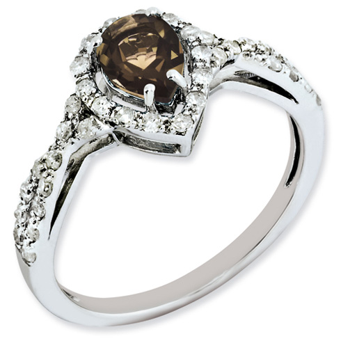 0.6 ct Sterling Silver Smokey Quartz and Diamond Ring