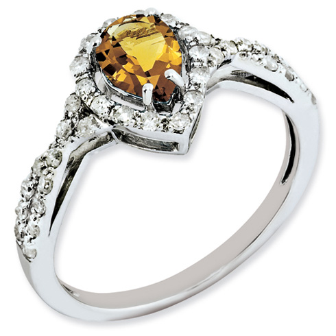 0.6 ct Sterling Silver Whiskey Quartz and Diamond Ring
