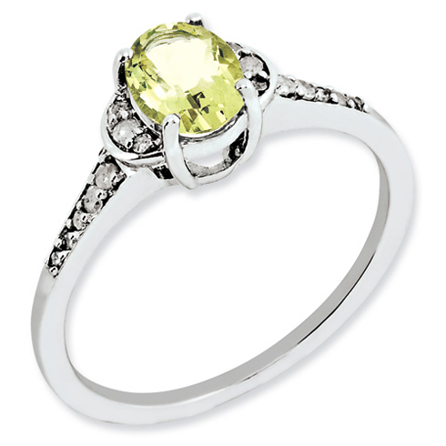 0.8 ct Sterling Silver Lemon Quartz and Diamond Ring
