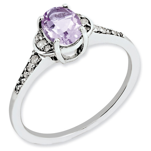 0.8 ct Sterling Silver Pink Quartz and Diamond Ring