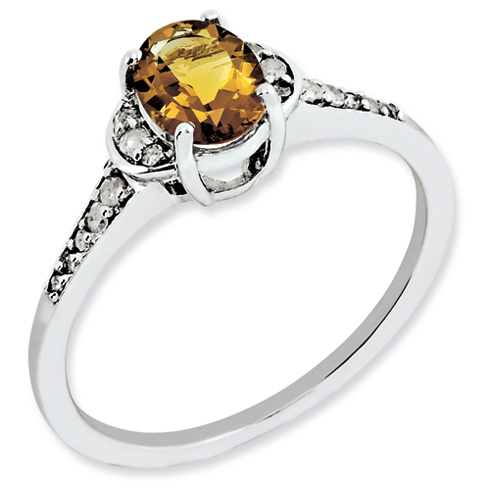 0.8 ct Sterling Silver Whiskey Quartz and Diamond Ring