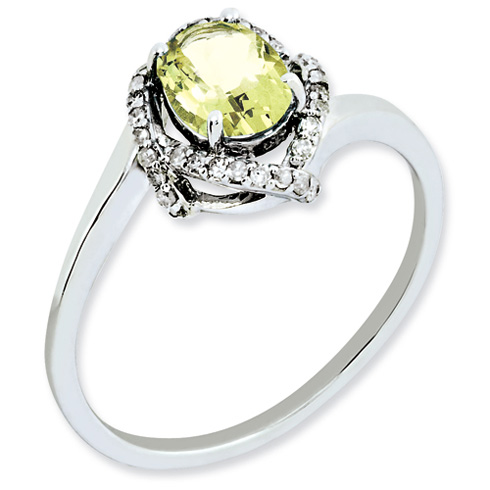 0.8 ct Sterling Silver Lemon Quartz and Diamond Ring