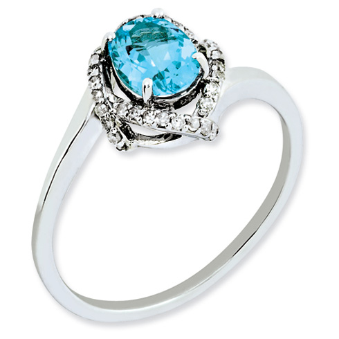 1 ct Sterling Silver Diamond and Light Swiss Blue Topaz Ring