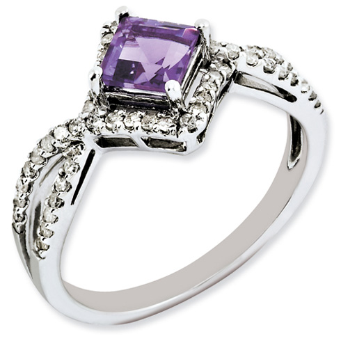 0.55 ct Sterling Silver Diamond and Amethyst Ring