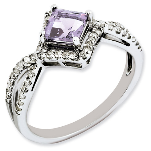 0.55 ct Sterling Silver Pink Quartz and Diamond Ring