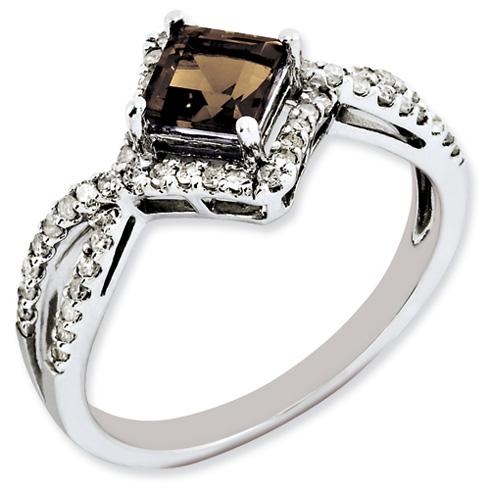 0.55 ct Sterling Silver Smokey Quartz and Diamond Ring