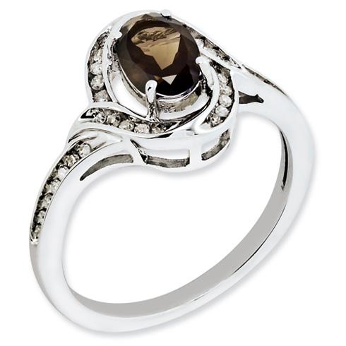 0.8 ct Sterling Silver Smokey Quartz and Diamond Ring