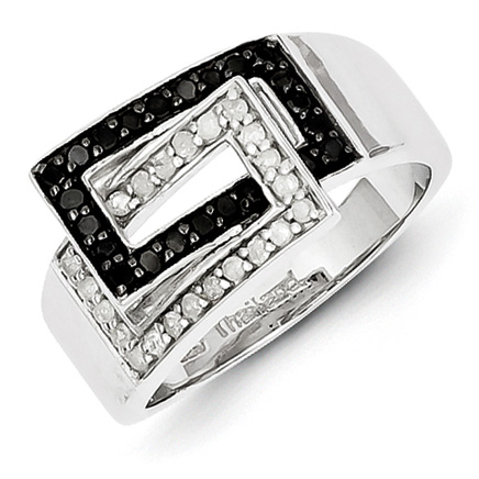 0.45 Ct Sterling Silver Black and White Diamond Ring