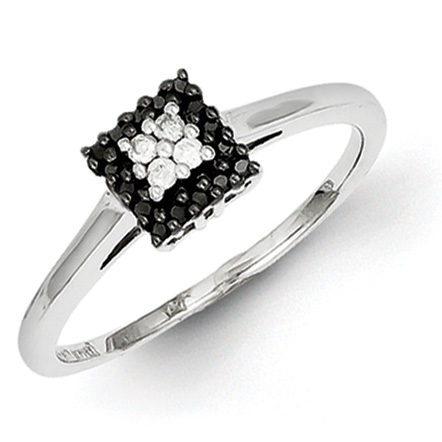0.15 Ct Sterling Silver Black and White Ring
