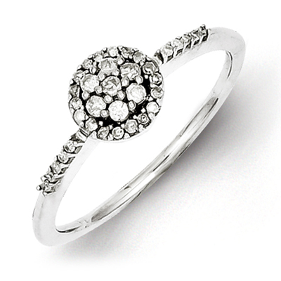 Sterling Silver 1/5ct Diamond Cluster Promise Ring