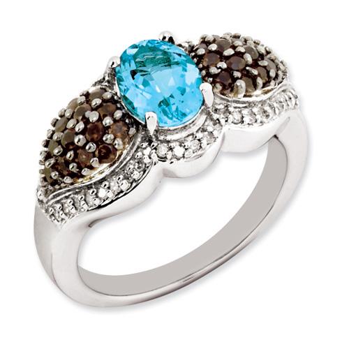 Sterling Silver 1.35 ct Light Blue Topaz Smokey Quartz Diamond Ring