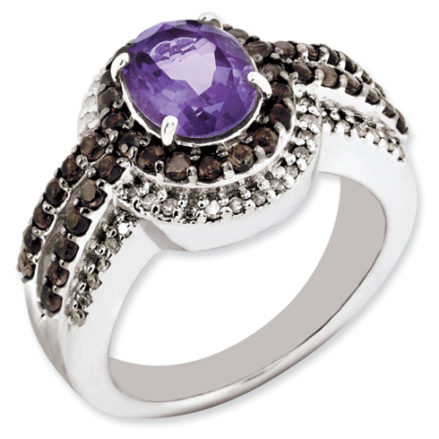 1.6 ct Sterling Silver Amethyst and Smokey Quartz and Diamond Ring