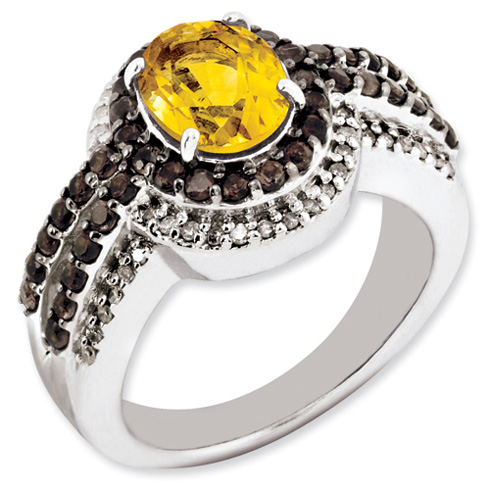 Sterling Silver 1.72 ct Citrine Ring with Smoky Quartz and Diamonds