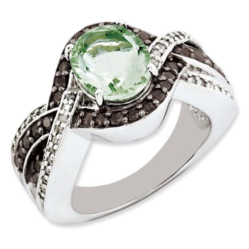 2.4 ct Sterling Silver Green Quartz and Smokey Quartz and Diamond Ring