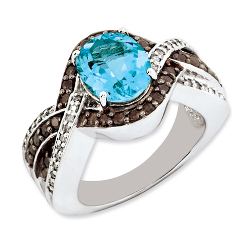 3.25 ct Sterling Silver Light Swiss Blue Topaz and Smokey Quartz and Diamond Ring