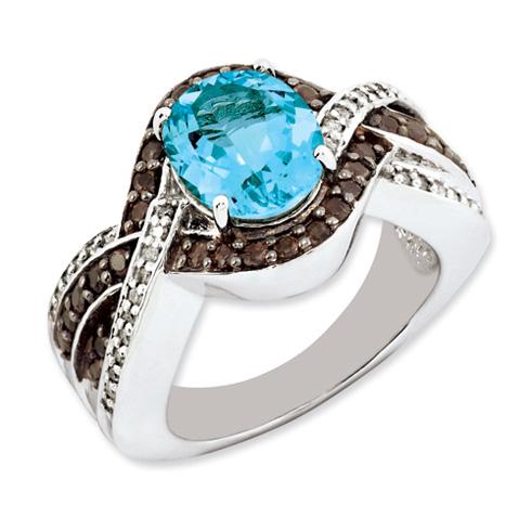 Sterling Silver 3.25 ct Light Swiss Blue Topaz and Smokey Quartz and Diamond Ring