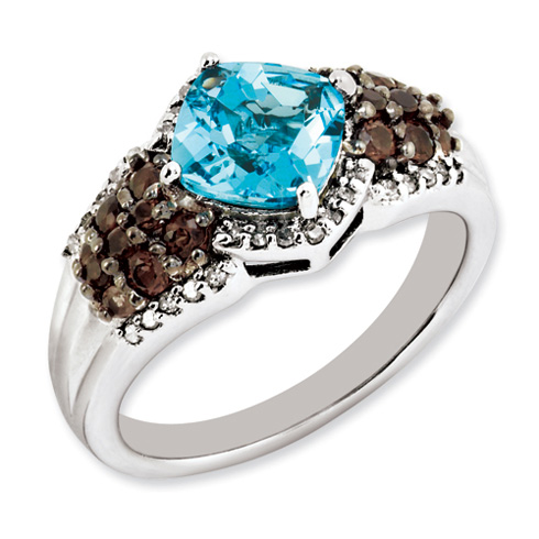 1.6 ct Sterling Silver Light Swiss Blue Topaz and Smokey Quartz and Diamond Ring