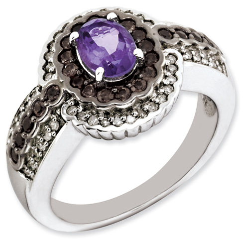 0.75 ct Sterling Silver Amethyst and Smokey Quartz and Diamond Ring
