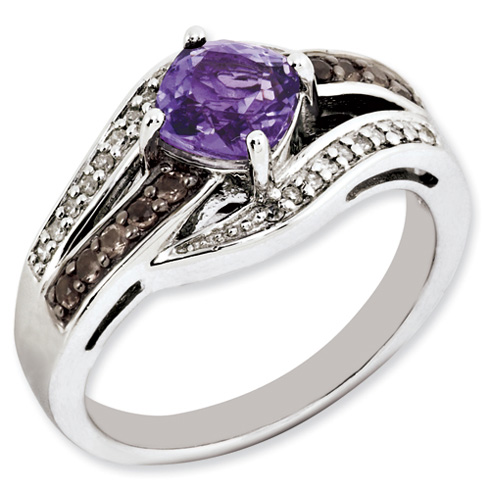 0.9 ct Sterling Silver Amethyst and Smokey Quartz and Diamond Ring