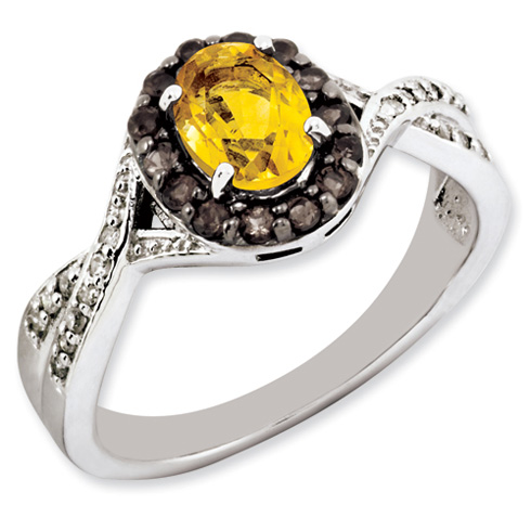 Sterling Silver 0.8 ct Citrine Ring with Smoky Quartz and Diamonds